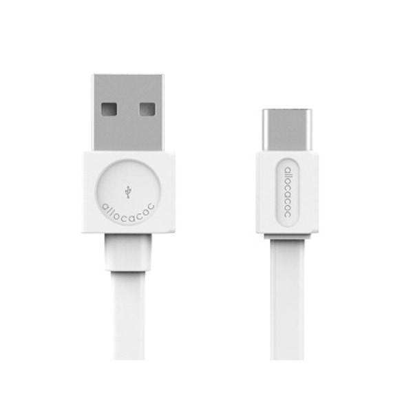 USB- typ C Laddkabel 1,5m platt, vit, Allocacoc, 3-PACK vit 150 cm