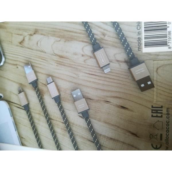 USB- typ C Laddkabel 1,5m platt, GULD flätad, Allocacoc, 3-PACK guld 150 cm