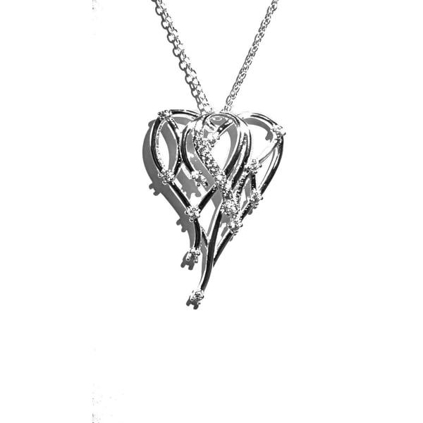 Silverpläterat halsband med hjärta