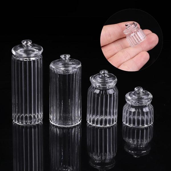 1/12 Dollhouse Miniature Glass Candy Jar Simulation Candy Bottl