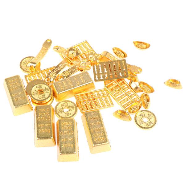 1:12 Dollhouse Miniature Golden Brick Mini Copper Cash Dolls Ho