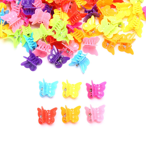 100PC Butterfly Hair Clips Grip Claw Barrettes Mini i blandad färg