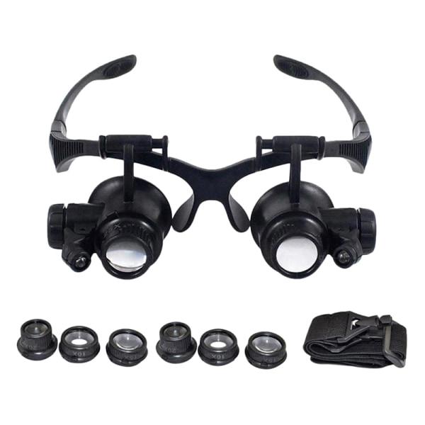 10X 15X 20X 25X LED Double Eye Jeweler Repair Watch Magnifier L One Size