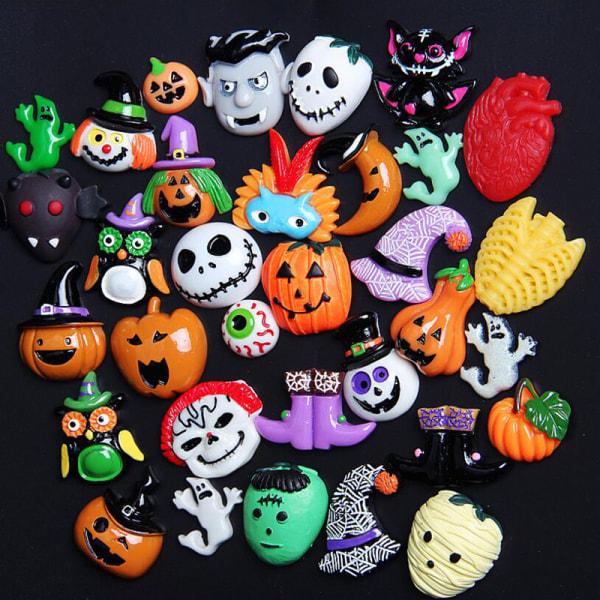 10x Mix Halloween Resin Charm Flatback Ghost Pumpkin Cabochon D.