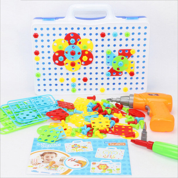 151Pcs kid drill puzzle toys diy screw group toys children tool  One Size