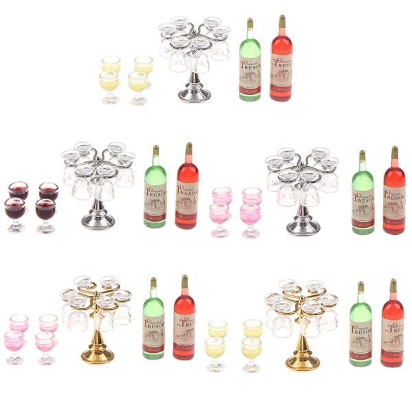 1Set Dollhouse Mini Bar Counter Wine Bottle Champagne Glass Hold A5