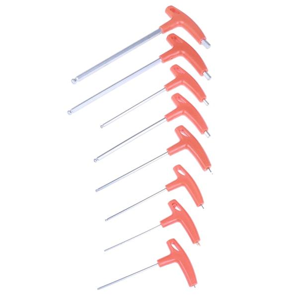 2,0 mm-10 mm metrisk t-handtag insexnyckel bultänd sexkantnyckel lång a