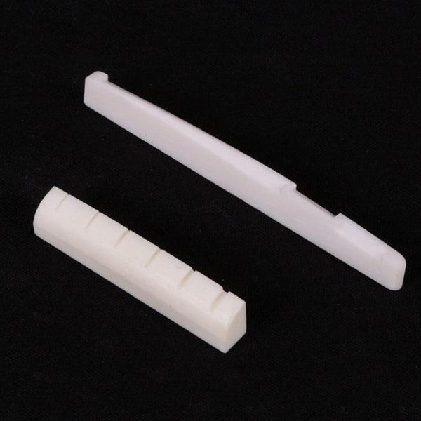 2 Set Ivory Buffalo Bone Bridge Sadel & slitsad mutter för 6 strängar