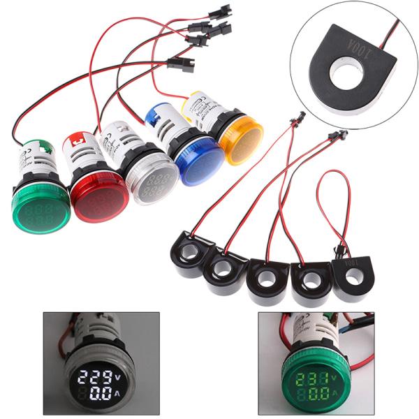 22MM AC50-500V 100a digital led voltage meter light ammeter curr Blue
