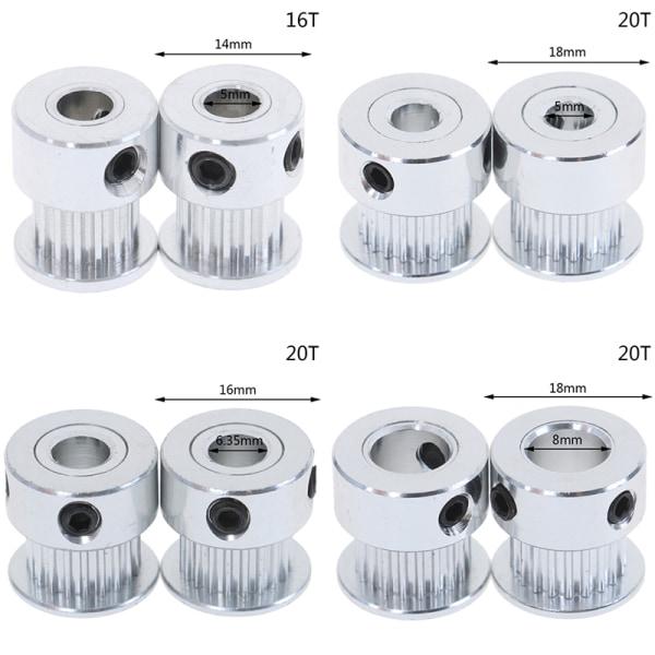 2st 16T / 20T GT2 Kuggremskiva 5 / 6,35 / 8mm Borrning för remförpackning