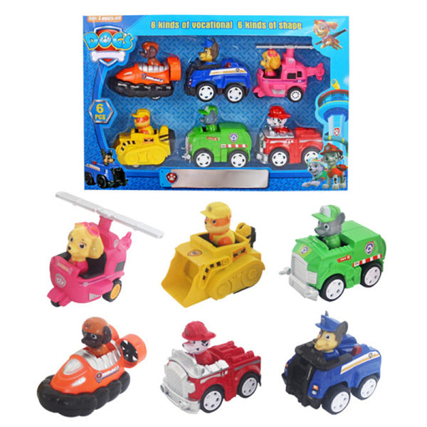 6Pcs/set Paw Patrol Puppy Action Figures Canine Pull Back Car Mo one size