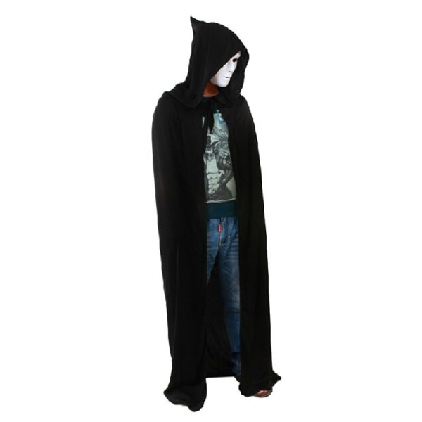 Black Halloween Costume Theater Prop Death Hoody Cloak Devil Lon
