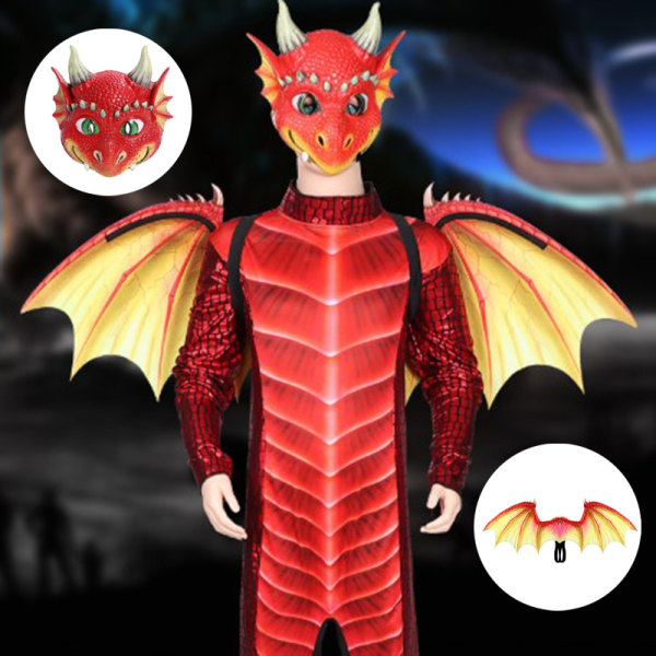 Halloween Cosplay Wings & Dragon Mask  Prop Dinosaurio Costume A A