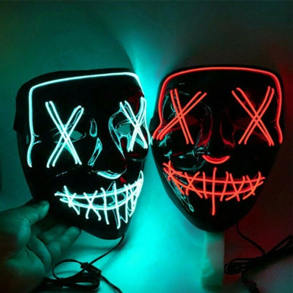 LED Cold Light Halloween Scared Black Bloody Horror Mask Party G Red one size