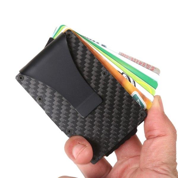 Men Slim Carbon Fiber Credit Card Holder RFID Blocking Metal Wal Black