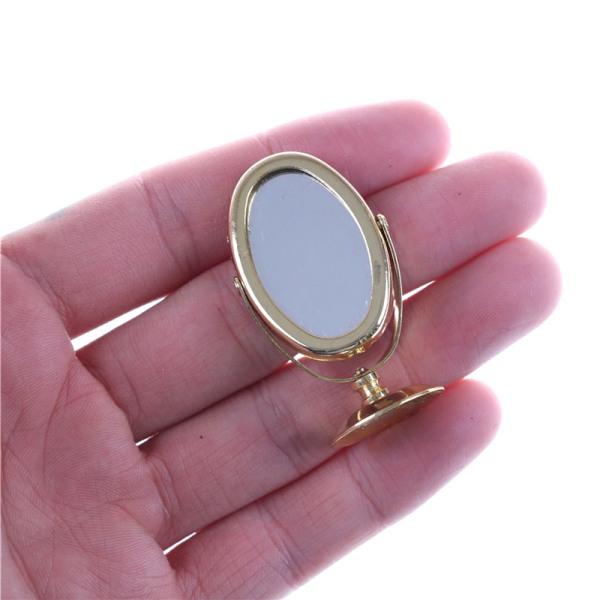 Miniatyr Oval Swing Dressing Mirror i mässingsdocka