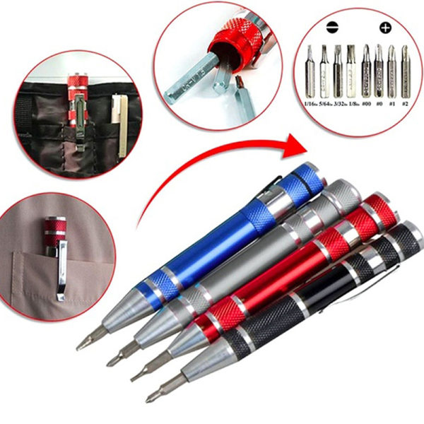 Multifunktion 8 i 1 Pocket Precision Mini Skruvmejsel Pen Repa