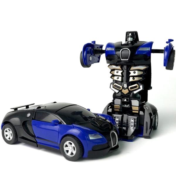 One-key deformation car automatic transform robot plastic model Blue