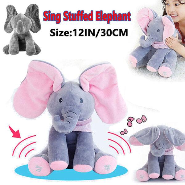 Peek-a-boo Elephant Baby Plush Toy Talking Singing Stuffed Kids  D