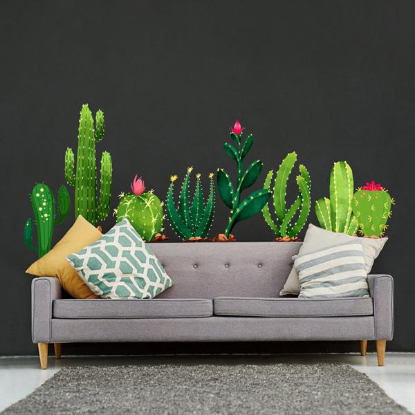 Inlagd kaktus vägg klistermärke sovrum vardagsrum TV soffa ba
