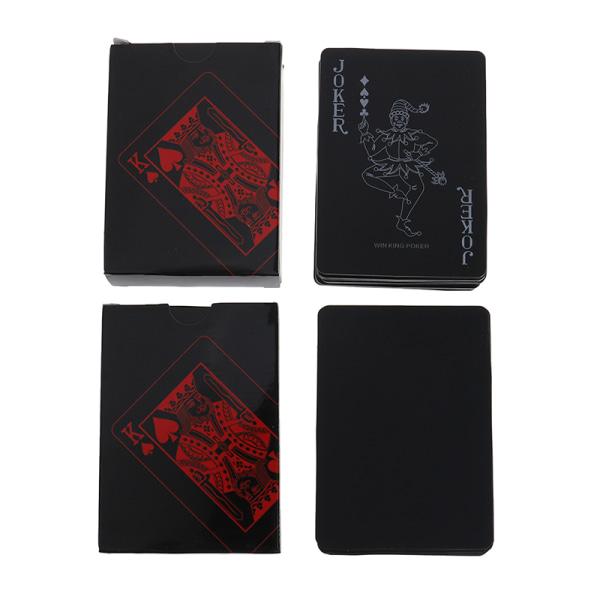 Kvalitet svart plast PVC poker vattentät magiska spelkort