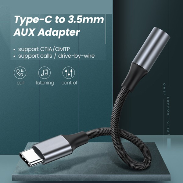 USB Type-C to 3.5mm Jack Adapter OTG USBC Splitter Cable High Qu Black
