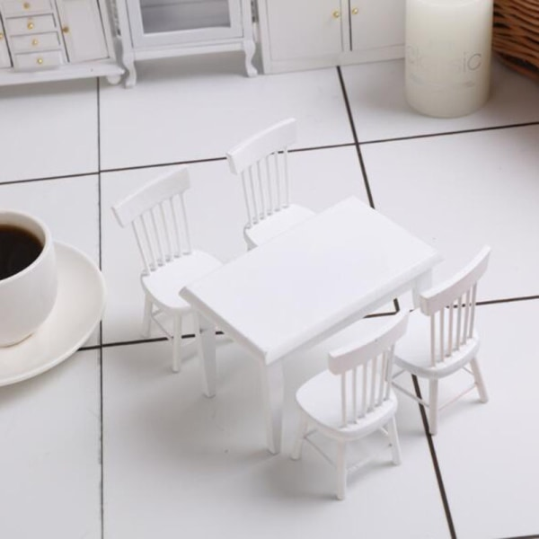 Vit matbordstol Set 1:12 Dollhouse Miniatyrpäls