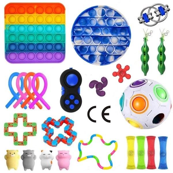 24 st Fidget Toys Set Pop it Pack för vuxna barn