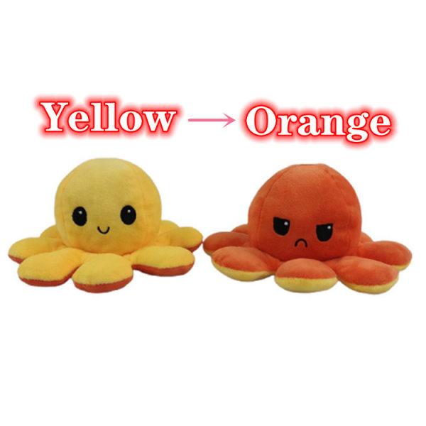 Yellow-Orange Cute Flip Reversible Octopus Plush Kid Toys Yellow