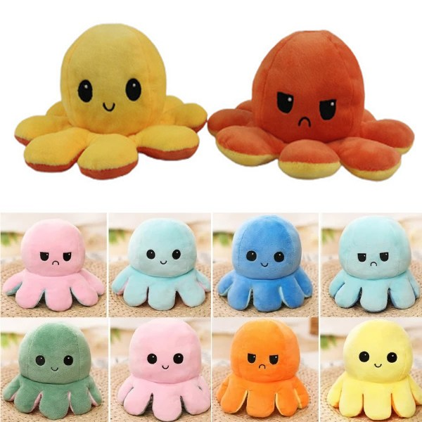 Pink-Green Cute Flip Reversible Octopus Plush Kid Toys Green