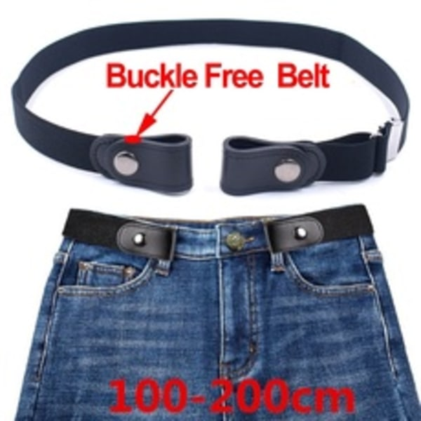 Easy To Adjust Buckle-Free Waist Belt Stretch Elastic Waistband Black