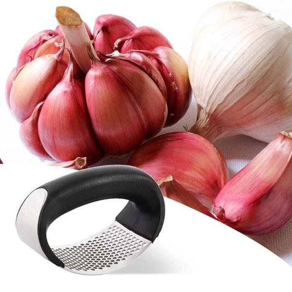 Manual Garlic Presser Slicer Curved Chopper Black