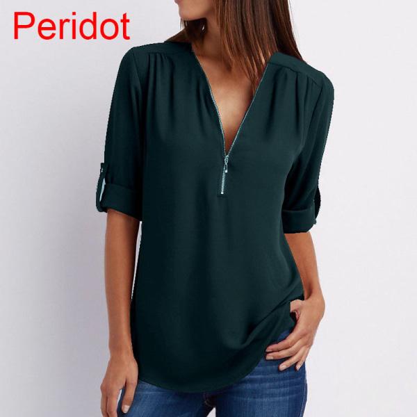 Plus Size Women Chiffon Shirt V-neck Blouse Peridot XXXL