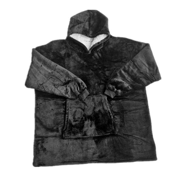 Plush Hoodie Blanket Hooded Robe Pullover Black