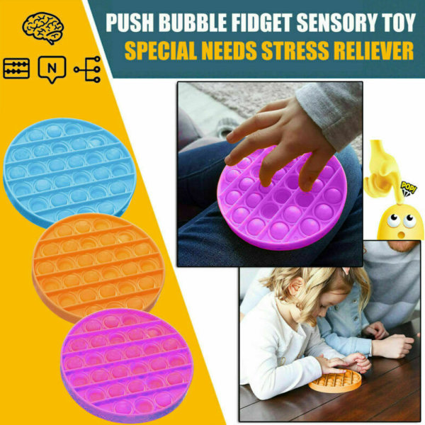 Pop it Fidget Toy Bubble Sensory Fidget Toy Blue Circle