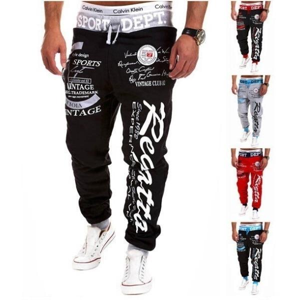 Print Mid Waist Polyester Loose Men's Pants Black & red M