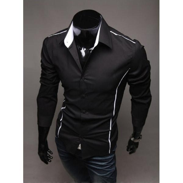 Vändbar krage Polyester Patchwork herrskjorta
