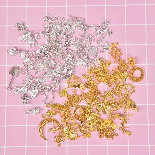 100g / Set Tibetanska Silver Mixed Charm Hängande Armband DIY Craft