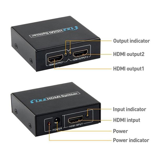 1in2 out 1080p HDCP Stripper 3D Splitter Power Signal Amplifier