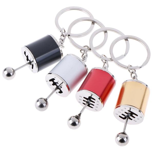 1Pc Car Keychain Gear Knob Free Shift Gear Box Metal Gear Stick  Black