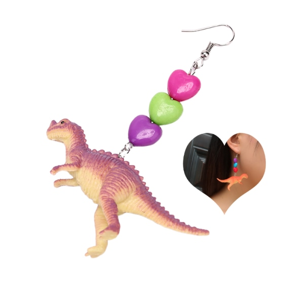 1PC Söta Dinosaurie Djur Drop Earring Punk Heart Dangle Ear St.