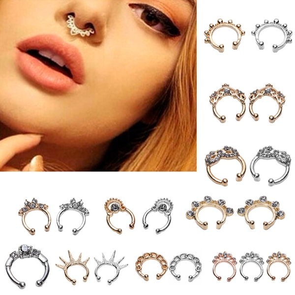 1PC Unisex Fake Septum Clicker Nose Ring Non Piercing Hanger Cli Silver One Size
