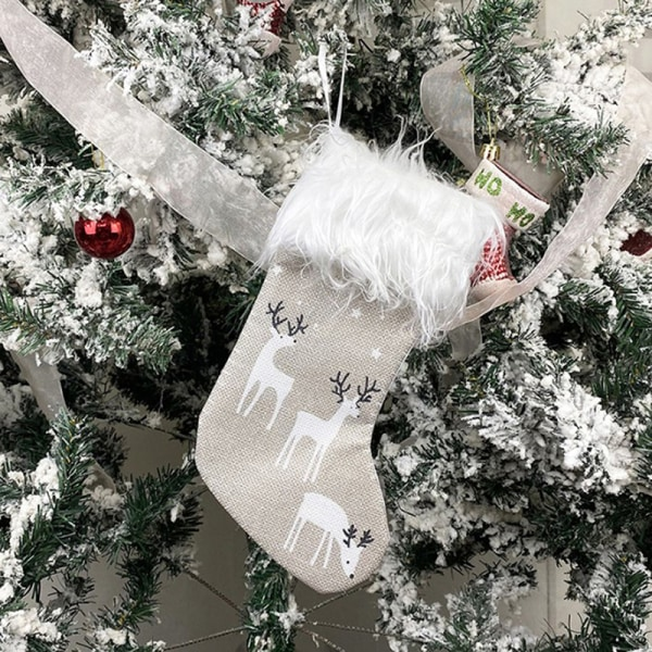 1XNew Year Christmas Stocking Sack Xmas Gift Candy Bag Noel Sock Red