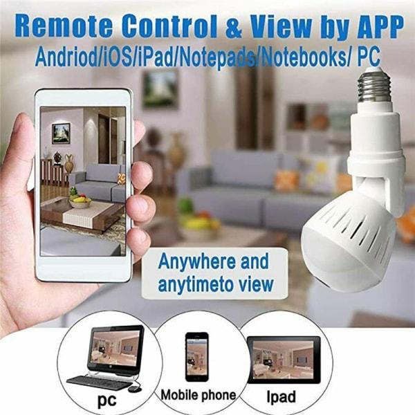 360° Panoramic Hidden Wifi Camera Light Bulb 1080P HD Security