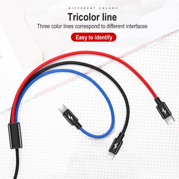 3in1 USB-kabel 8Pin Micro USB Type-C laddningskabelladdare Kor