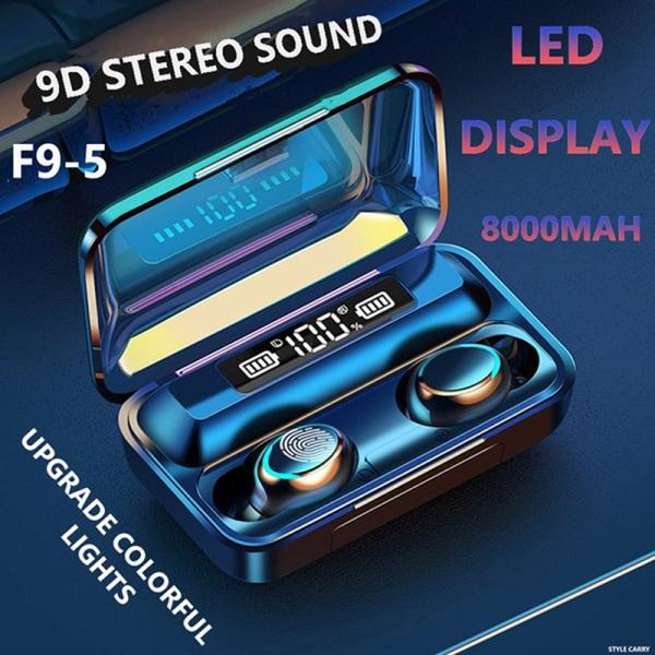 5.0 Bluetooth Stereo Wireless LED Display Headset Waterproof Du Black
