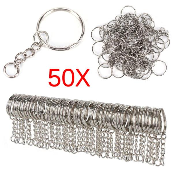 50PCS 25mm Polished Silver Keyring Keychain Split Ring Short Cha