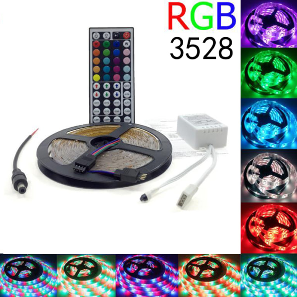 5M RGB 3528 Waterproof LED Strip Light SMD 44 Key Remote 12V Pow 1