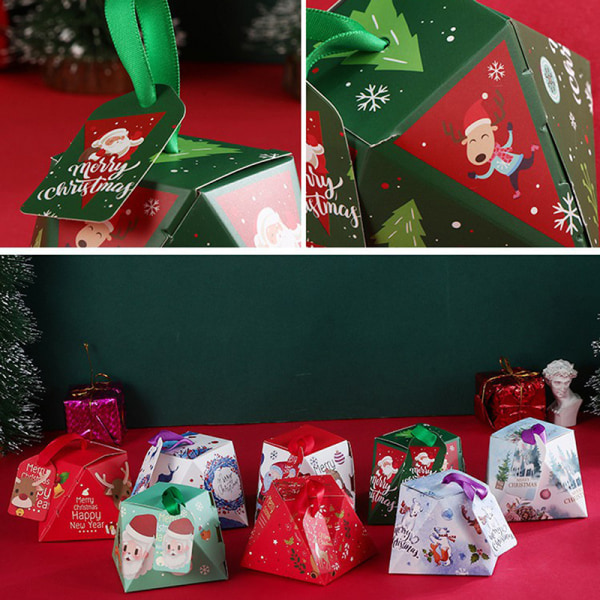 5Pcs Christmas Gift Packing Bag Candy Biscuits Box Santa Claus E H