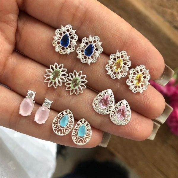 6Pairs / Set Kvinnor Rhinestone Crystal Örhängen Drop smycken Ear S